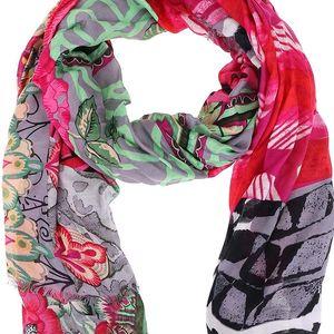 Zeleno-růžový vzorovaný šátek Desigual Fantasia