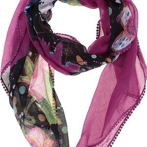 Fialový vzorovaný šátek Desigual Foulard