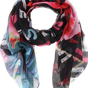 Černý šátek s barevnými vzory Desigual Rectangle Arty