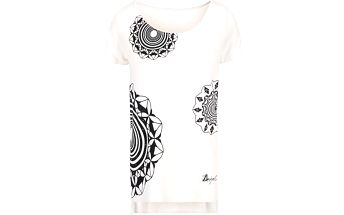 Krémové tričko se vzory Desigual Adelma Rep