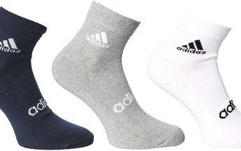 Kotníkové ponožky Adidas Performance 3 páry vel. EUR 43 - 46, UK 8,5 - 11
