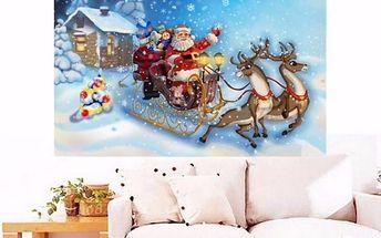 Sada pro výrobu vlastního obrazu - Santa na saních - 30 x 26 cm - poštovné zdarma