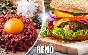 300g maxi burger + 150g hranolky, nebo 150g tatarák s 5 kusy topinek: menu pro 1 osobu