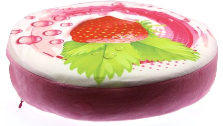 Luxusní kulatý polštář s motivem ovoce Vzor: Jahoda