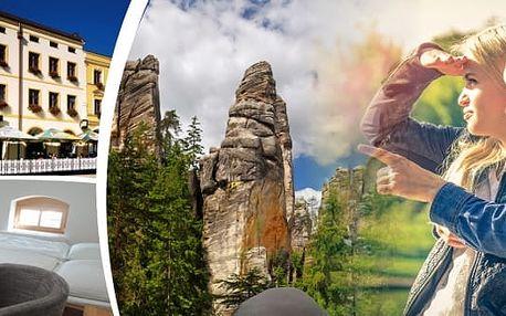 FIRST MINUTE - Přijměte pozvání doHotelu Praha Broumov s platností do listopadu 2017 s bohatou polopenzí pro dva na 3, 4 nebo 6 dní a vydejte se do největšího skalního města střední Evropy. Oblíbený cíl mnoha turistů i rodin s dětmi.