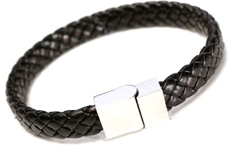 Pánský pletený náramek s kovovou sponou v černé barvě - poštovné zdarma