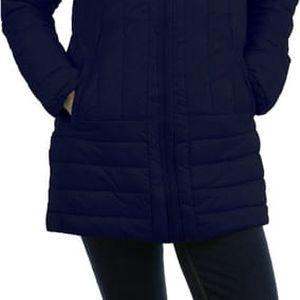Prošívaná bunda delšího střihu tmavě modrá