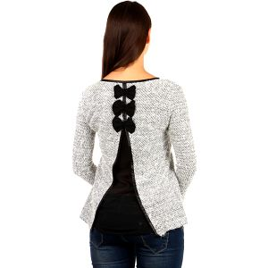 Elegantní svetřík s výkrojem a mašlemi na zádech
