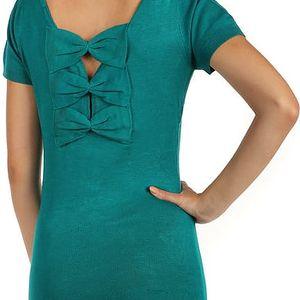 Dlouhý svetr s mašlemi na zádech zelená