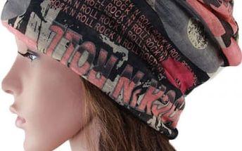 Multifunkční čepice s nápisem Rock N Roll