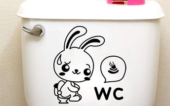 Samolepka na WC - kreslený králík - 20 x 20 cm