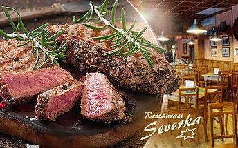 Menu pro 1 osobu: 1x 200g steak za šťavnaté kotlety, s dresingem a fazolkami
