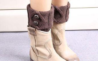 Dámské návleky na nohy s knoflíky - kávová - skladovka - poštovné zdarma