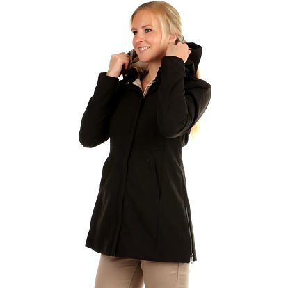 Softshellová bunda áčkového střihu i pro plnoštíhlé černá