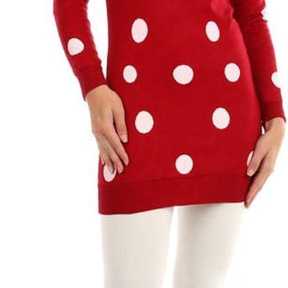 Dlouhý svetřík s puntíky červená