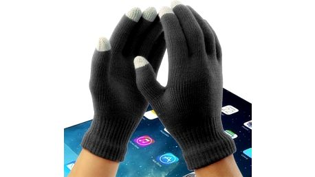 Dámské rukavice na dotykový displej v černé barvě - skladovka - poštovné zdarma