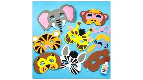 Sada k výrobě pěnových masek - zvířata z džungle (6ks)