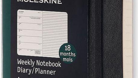Černý týdenní diář Moleskine Soft, 18 měsíců, malý - doprava zdarma!