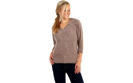 Dámský chlupatý svetr s 3/4 rukávy červená