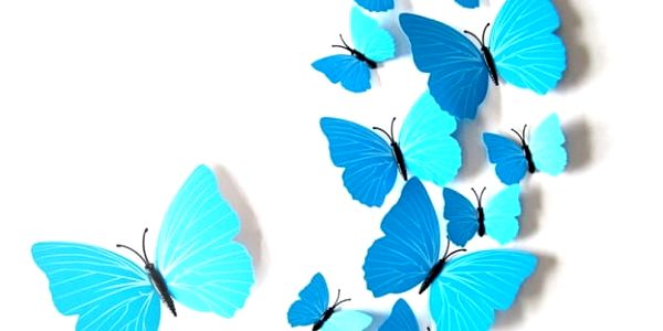 3D samolepky modrých motýlů