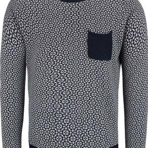 Šedo-modrý vzorovaný svetr s kapsou Dstrezzed