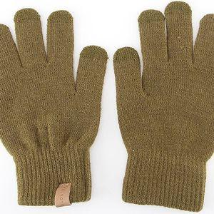 Khaki pánské zimní rukavice Selected Leth
