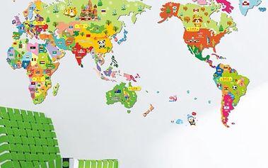 Dětská samolepka na zeď - mapa světa