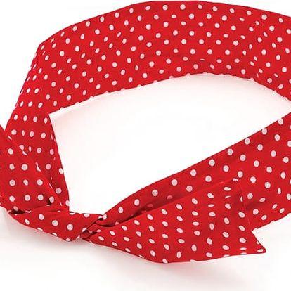 Červená čelenka do vlasů Polka 29162
