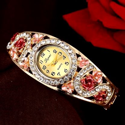 Dámské bohatě zdobené náramkové hodinky - 5 barev