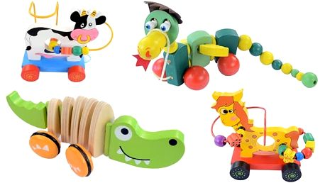 Tahací hračky ze dřeva v různých variantách