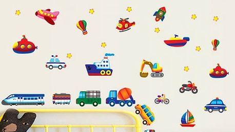 Dětská 3D samolepka na zeď - dopravní prostředky