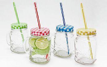 Dekorovaná sklenice s barevným víčkem a brčkem