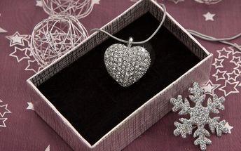 Přívěsek srdce s krystaly