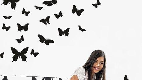 Samolepka na stěnu Wallvinil Motýlí ráj, černá