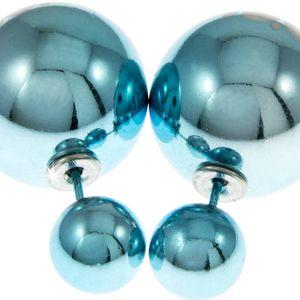 Fashion Icon Náušnice dvojité kuličky s kytičkou oboustranné