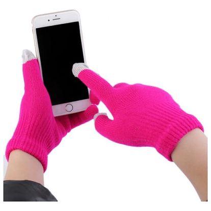 Dotykové rukavice pro smartphony v sytě růžové barvě - dodání do 2 dnů