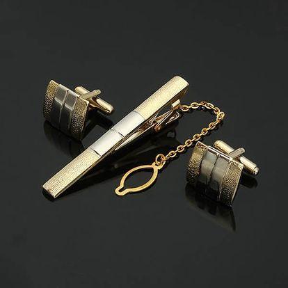 Manžetové knoflíčky se sponou na kravatu
