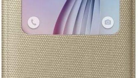 Pouzdro na mobil flipové Samsung S-View Fabric pro Galaxy S6 (EF-CG920BF) (EF-CG920BFEGWW) zlaté