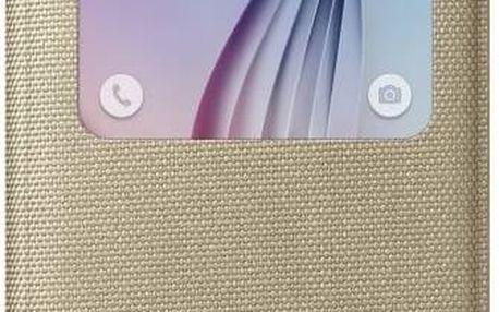 Pouzdro na mobil flipové Samsung S-View pro Galaxy S6 (EF-CG920BF) (EF-CG920BFEGWW) zlaté