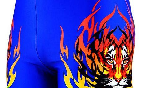 Pánské plavky s potiskem tygra s plameny