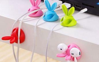 Držák na kabely ve vtipném králičím designu - 4 ks