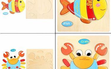 Dřevěná vzdělávací hračka pro děti - 4 ks - poštovné zdarma