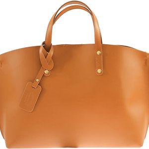 Béžová kožená kabelka City - doprava zdarma!