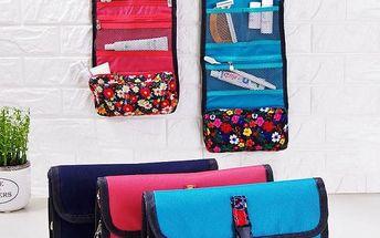 Skládací kosmetická taška na cesty s květinami - 3 barvy