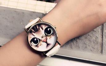 Dámské hodinky s motivem roztomilé kočky
