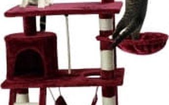 Škrabadlo pro kočky, 140x65x40 cm , barva vínová