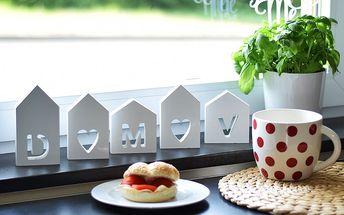 Dřevěná dekorace Domečky