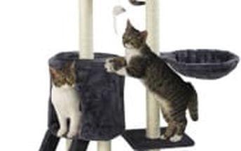 Škrabadlo pro kočky, 138x50,5x36 cm , barva tmavě šedá