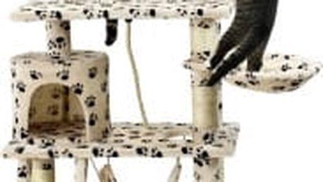 Škrabadlo pro kočky, 140x65x40 cm , s tlapkovým vzorem