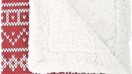 Červený pléd Mistral Home Knitting, 130x170 cm